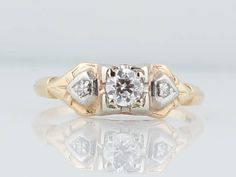 Engagement Ring Mid-Century .20ct Old European by FiligreeJewelers