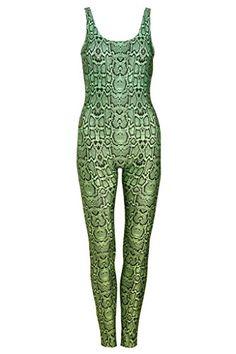 bf166678c8f6 Snake Green Unitard Jumpsuit Catsuit Top Playsuit Womens Animal Print  Tumblr Leopard Tumblr Festival Tumblr Hipster