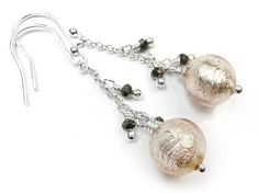 Murano Glass Bella Earrings - Champagne Murano Glass Beads, Faceted Glass, Dangly Earrings, Crystal Earrings, Sterling Silver Jewelry, Champagne, White Gold, Crystals, Faceted Crystal