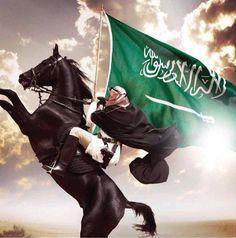 Black Arabian with Bedu rider holding the flag of Saudi Arabia Islamic Images, Islamic Pictures, Saudi Arabia Prince, Pakistan Wallpaper, Ksa Saudi Arabia, National Day Saudi, Islamic Wallpaper Hd, Arab Swag, Karbala Photography