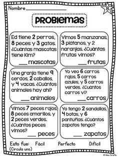 Problemas Sumando 3 Números - Adding 3 numbers word problems, activities, centers, and so much fun stuff in Spanish Spanish Words, Spanish Lessons, Math Lessons, Kids Math Worksheets, Math Activities, Math Games, Math For Kids, Fun Math, Spanish Teaching Resources