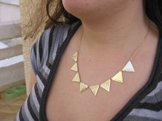 Rome- Hammered gold  triangles necklace .
