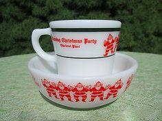 RARE-Vtg-Pyrex-Santas-Mug-Bowl-Corning-Employees-Christmas-Party-Promotional
