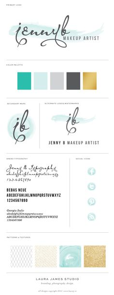 Jenny B Makeup Artist Logo Brand Board Aqua, Turquoise, Grey, Gray, Charcoal, Black, Gold Jenny B Makeup Artist - Laura James Studio >> Branding Photography Design