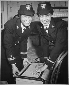 "Original Caption: ""Lt.(jg.) Harriet Ida Pickens and Ens. Frances Wills, first Negro Waves to be commissioned. They were members of the final graduating class at Naval Reserve Midshipmen's School (WR) Northampton, MA."", 12/21/1944"