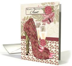 Aunt Champagne And Shoes Butterfly And Rose Birthday card (1073720)