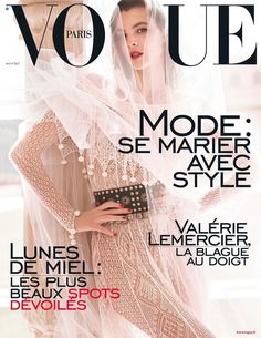 Vittoria Ceretti by Mario Testino on the cover of the special Wedding Issue in Vogue Paris 2016