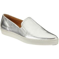 Kin by John Lewis Elise Pointed Toe Slip On Trainers, Silver (5.600 RUB) ❤ liked on Polyvore featuring shoes, sneakers, canvas sneakers, flat sneakers, flat slip on shoes, silver shoes and slip on shoes