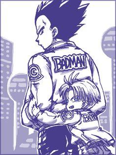Vegeta and Trunks Dragon Ball Gt, Dragon Z, Fanart Manga, Anime Manga, Vegeta Y Trunks, Martial, Manga Dragon, Dbz Vegeta, Anime Guys