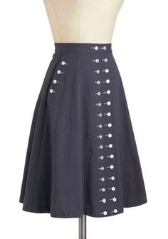 Buttoned Up in Style Skirt, #ModCloth