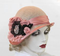 Dusty Pink 1920's Style Cloche Summer Hat for High Tea, Weddings, Special Occasions