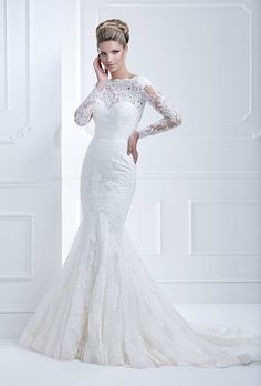 Brides.com: Wedding Dresses with Long Sleeves from Fall 2013. Wedding Dress with Long Sleeves: Ellis Bridals. Lace-embroidered trumpet gown by Ellis Bridals  See more trumpet and mermaid wedding dresses.