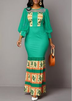 Fashion dresses 646407352752280118 - Cocktail Party Dress Mesh Panel Tribal Print Lantern Sleeve Maxi Dress Source by timfa_coul Long African Dresses, Latest African Fashion Dresses, African Print Fashion, Women's Fashion Dresses, Fashion Prints, Sexy Dresses, Sheath Dresses, Woman Dresses, Trendy Dresses