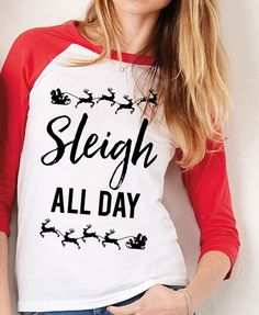 SLEIGH ALL DAY Christmas Red Baseball Tee by NoBull Woman Apparel