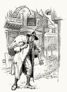 The small coal man was heard with cadence deep, 'Till drown'd in shriller notes of chimney sweeps;  Hugh Thomson, from Old English songs, with an introduction by Austin Dobson, london, 1894.  (Source: archive.org)