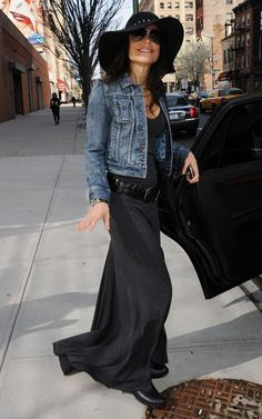Maxi dress and jean jacket. Like the belt with the Maxi dress otherwise it just looks sloppy!