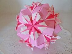 Pink Origami Kusudama Star Flower Ball With Bell Decor Ornament Unique Gift Birthday Present Alternative