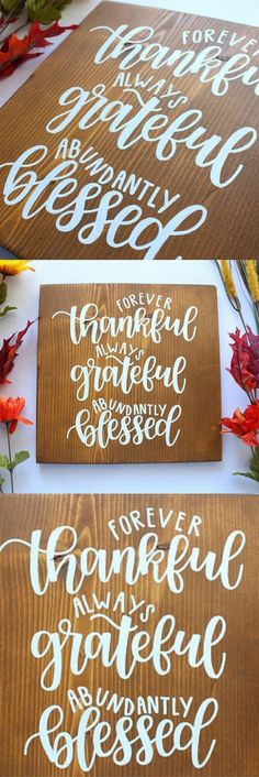 Thanksgiving Sign - Thankful - Grateful - Blessed - Fall Decor - Rustic Wood - Hand Lettered - Thanksgiving Decor - Rustic Decor #ad #affiliatelink