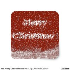 Red Merry Christmas & Snow Square Sticker