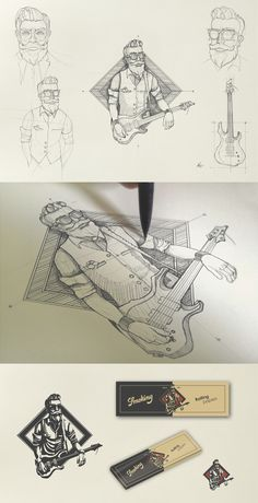 Character concept design by I.Nechifor for the Mr. The sketch reimagines him as cool guy with a guitar. Hipster Design, Hipster Logo, Hipster Illustration, Graphic Design Illustration, Logo Character, Character Concept, Draw Logo, Men Logo, Logo Sketches
