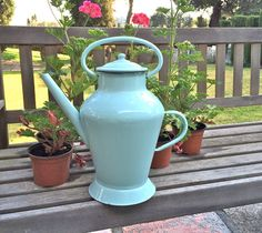 French Vintage Pale Blue Enamel Watering Can by LePasseRecompose