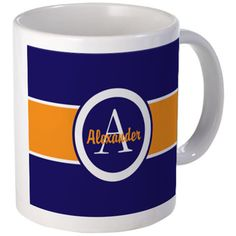 Navy Blue Orange Monogram Personalized Mugs on CafePress.com