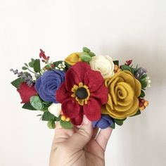 Your place to buy and sell all things handmade Beautiful wildflower wool felt flower crown headband Baby Flower Crown, Flower Crown Headband, Diy Flower, Felt Flowers, Fabric Flowers, Halloween Hair Bows, Felt Crown, Felt Headband, Diy Crown
