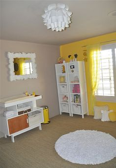 i want to do the walls in grey and the window wall in yellow like