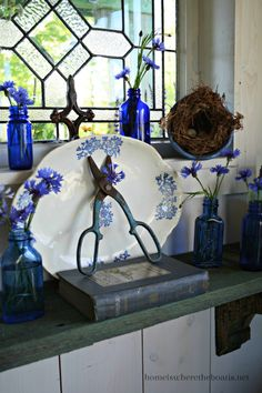 From Mary:  love blue bottles!  Great vignette for foyer or hutch....DSC_6164-001