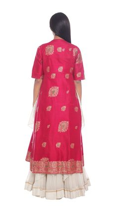 85b74efdf3f Buy Indian Designer Fuschia and ivory benarasi woven ensemble with zari  work Online Online Work,