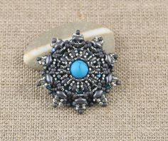 Turquenite Stone Beaded Brooch by CatchTheBeads on Etsy