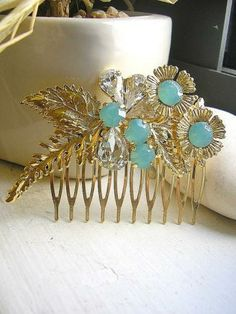 Gold Leaves hair comb,wedding hair accessories,Pacific Opal bridal Head Piece, crystal Hair Comb by hinuma on #zibbet