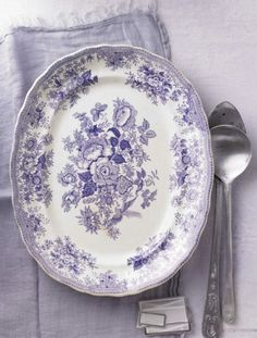 Purple transferware, from Dietlind Wolf. Vintage Plates, Vintage Dishes, Vintage China, Lavender Cottage, Lavender Tea, White Dishes, Blue And White China, All Things Purple, Shades Of Purple