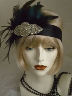 1920s Headpiece, Flapper Headband, Gatsby, Peacock, Feathers, Crystal, Rhinestones, Black no. 65
