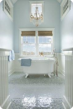 Beachy Bathroom - more → http://pattyfashiondegreesblog.blogspot.com/2013/10/beachy-bathroom.html