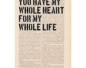 love quote dictionary art print - You Have My Whole Heart for my Whole Life - book page print quote art