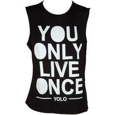 Black Yolo Print Vest Tee ($7.45) ❤ liked on Polyvore