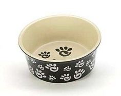 Cute Ceramic Paw Print Wide Rim Dog Dish.  Get 4 people to Sign Up and Join this freebie and you get it!!