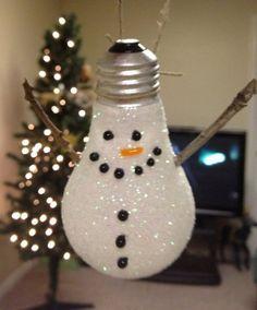 Lampadina a pupazzo di neve di Natale da appendere all'albero. | scatol8® | Scoop.it