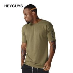 cotton t shirts mens new summer street wear hip hop T-SHIRTS fashion zipper on sleeve t-shirts pure color