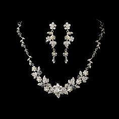 Beautiful Crystal and Pearl Floral Vine Wedding Jewelry Set - Affordable Elegance Bridal -