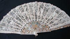 Maria Niforos - Fine Antique Lace, Linens & Textiles : Antique Fans # FA-21 Magnificent Figural Brussels Point De Gaze Lace Fan