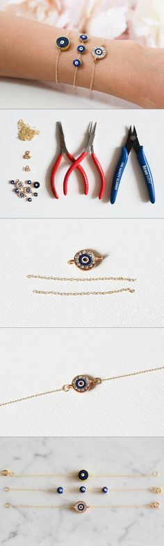 DIY Evil Eye Bracelets - Currently, my jewelry box is filled with delicate gold jewelry. I love to stack several dainty gold bracelets on my arm as a finishing touch to my outfit. Instead of buying them at a boutique, I love to make them myself. The steps are so quick and easy to follow. They make the perfect gift for friends, loved ones, and yourself. - See more at: http://stylestories.ebay.com/diy-evil-eye-bracelets/#sthash.0aOu61DR.dpuf