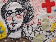 Embroidered drawing linen art small textile drawing polka Jess Quinn  http://www.jess-quinn.com
