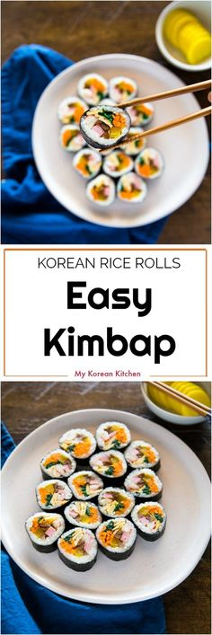 Easy Kimbap Korean sushi rolls Recipe koreanfood gimbap kimbap sushiroll via mykoreankitchen Gimbap Recipe, Asian Recipes, Healthy Recipes, Easy Korean Recipes, Korean Sushi Recipe, Sushi Roll Recipes, Korean Kitchen, Korean Dishes, Korean Recipes