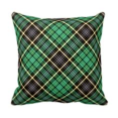 Green Tartan Pillow by elenaind