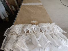 83x18 Burlap & Lace Table Runner by EwcHomeDesigns on Etsy, $30.00