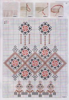 Traditional red and black pattern chart Cross Stitch Borders, Cross Stitch Charts, Cross Stitch Designs, Cross Stitching, Cross Stitch Patterns, Cutwork Embroidery, Embroidery Patterns Free, Cross Stitch Embroidery, Palestinian Embroidery