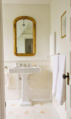 Pedestal Sink In Powder Room Bathroom Antique Mirror Different And Base