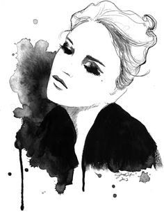 Print from original watercolor and pen fashion illustration, Jessica Durrant